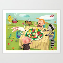 Veggie Grill Out Art Print