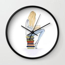 Bookworm in blond Wall Clock