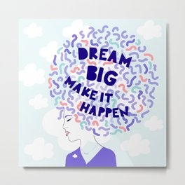 'Dream Big' Girl Power Portrait Metal Print