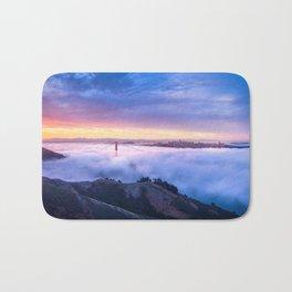 Breathtaking Hillside View Historic Golden Gate Bridge Low Hanging Clouds San Francisco California Bath Mat