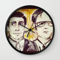dwight schrute Wall Clocks featuring Michael & Dwight by Melissa Dilger
