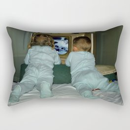 Brother and Sister view television in the 1950's Rectangular Pillow