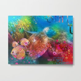 Sea Turtle In Living Color Metal Print