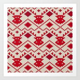 Knitting texture Christmas deer Art Print