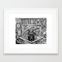 hell Framed Art Prints featuring Hell by David Luscombe
