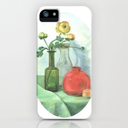 Still life with Buttercup and glass bottles iPhone Case