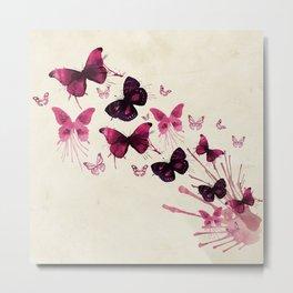 Pink watercolor butterflies Metal Print