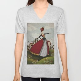Off with their heads Queen of hearts from Alice in Wonderland Unisex V-Neck