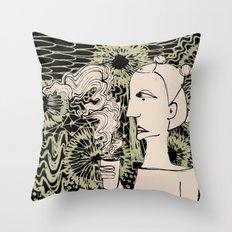 Cafe Drawing Throw Pillow