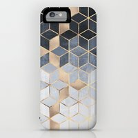 iPhone 6 Power Case featuring Soft Blue Gradient Cubes by Elisabeth Fredriksson