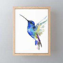 Hummingbird, Turquoise BLue Flying Bird decor Framed Mini Art Print