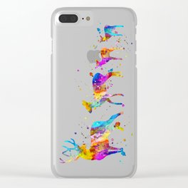 Watercolor Deer Family Clear iPhone Case