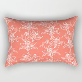 Lily Love in Coral Orange Rectangular Pillow