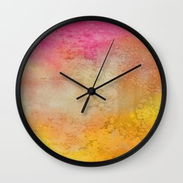 Abstract hand painted pink orange yellow grunge watercolor Wall Clock