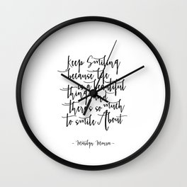 Keep Smiling -  Quote Typography Black and White Inspirational Art Print, nursery deco Wall Clock