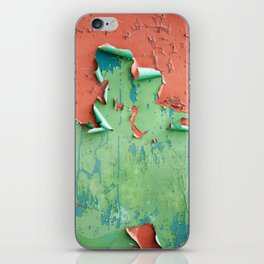 Green brown old cracked paint wall iPhone Skin