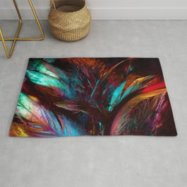Abstract colorful feathers Rug