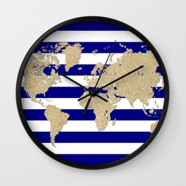 Gold glitter and blue stripes world map Wall Clock