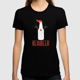 Reinbeer Funny Christmas Gift Santa Hat Antler T-shirt