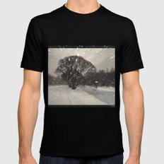 Out of the window... Mens Fitted Tee MEDIUM Black