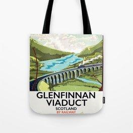Glenfinnan Viaduct Scotland Rail poster Tote Bag