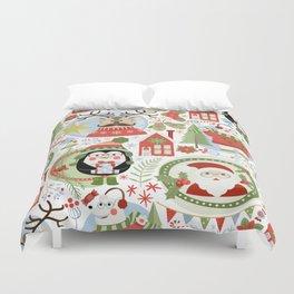 Holiday Christmas Winter Wonderland with Hipster Santa Reindeer Polar Bears and Penguins Duvet Cover