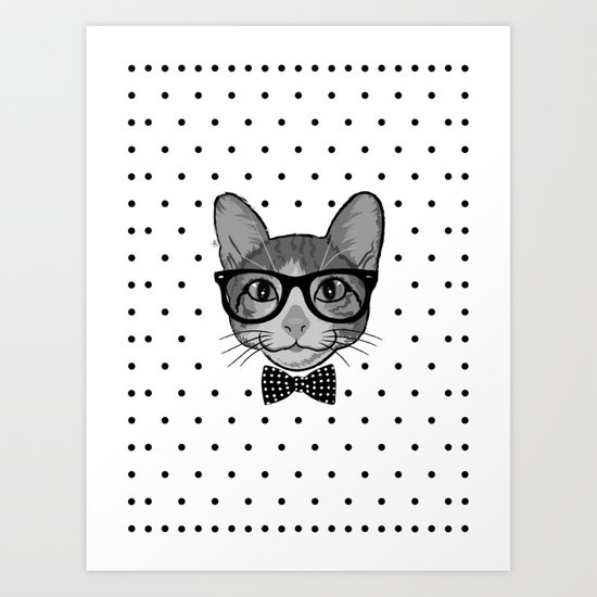 Cat Hipster With Bow Tie - Polka Dots Pattern Art Print