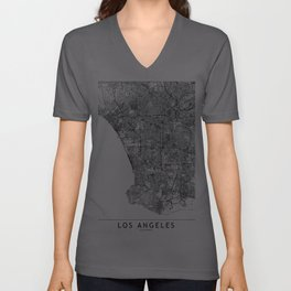 Los Angeles White Map Unisex V-Ausschnitt