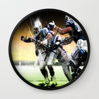 nfl Wall Clocks featuring American Football by Gilles Rathé