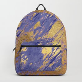 Rose Gold Glitter Faux Marble on Periwinkle Blue Backpack