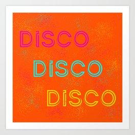Bright orange disco design Art Print