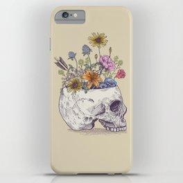 Half Skull Flowers iPhone Case
