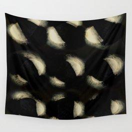 """Scandinavian White Spots on Black Burlap Concrete"" Wall Tapestry"