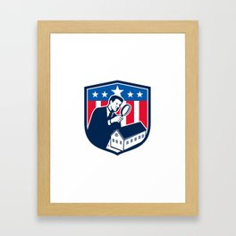 American School Inspector  USA Flag Icon Retro Framed Art Print