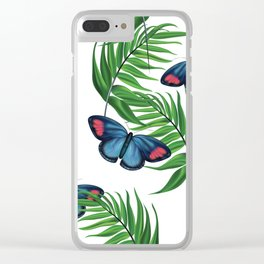 Green tropical leafs and blue butterflies pattern Clear iPhone Case