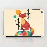 grey iPad Cases featuring Rainbow Fox by Andy Westface