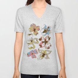 Silk Screen Floral Unisex V-Neck