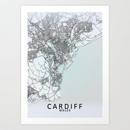 Cardiff, Wales, White, City, Map Art Print