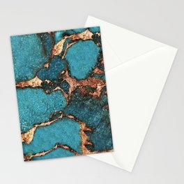 GEMSTONE  & GOLD AQUA Stationery Cards