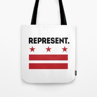 dc Tote Bags featuring Represent DC by SquibInk