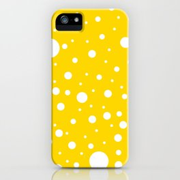 Mixed Polka Dots - White on Gold Yellow iPhone Case