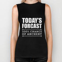 Archery T-shirt Gift - Funny Archery Today's Forecast Biker Tank