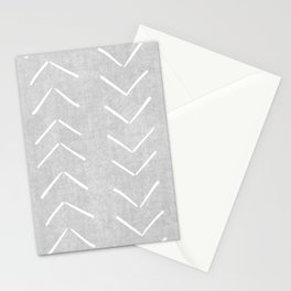 Mudcloth Big Arrows in Grey Stationery Cards