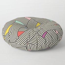 Modern Scandinavian Multi Colour Color Curve Graphic Floor Pillow