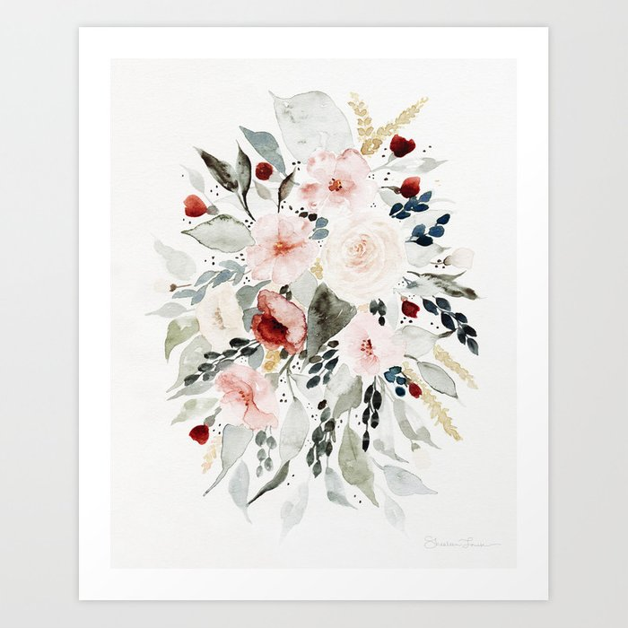 Loose Watercolor Bouquet Kunstdrucke