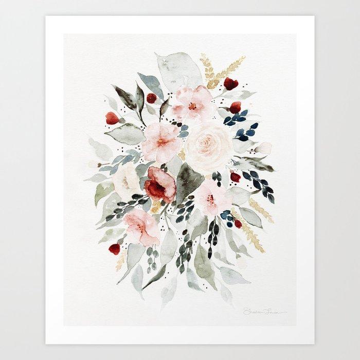 Loose Watercolor Bouquet Art Print