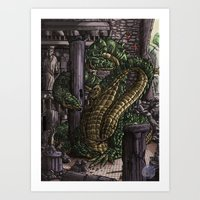hydra Art Prints featuring Hydra  by Joseph Stansbury Illustration