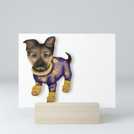 Puppy in Pajamas Mini Art Print