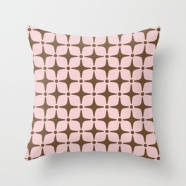 Mid Century Modern Star Pattern Pink and Brown Throw Pillow