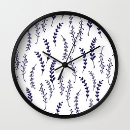 Simple Botanical Pattern in Delft Blue and White Wall Clock